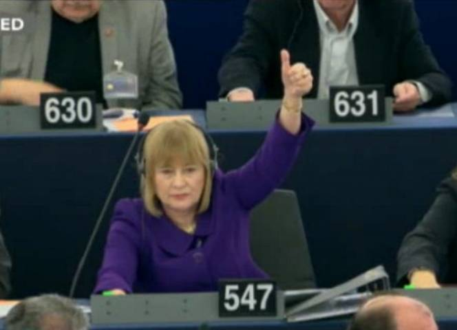 Mary Honeyball bei der Abstimmung ihrer Resolution im EU-Parlament. © BBC/Democracy Live
