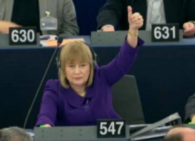 Mary Honeyball bei der Abstimmung. - © BBC Democracy Live