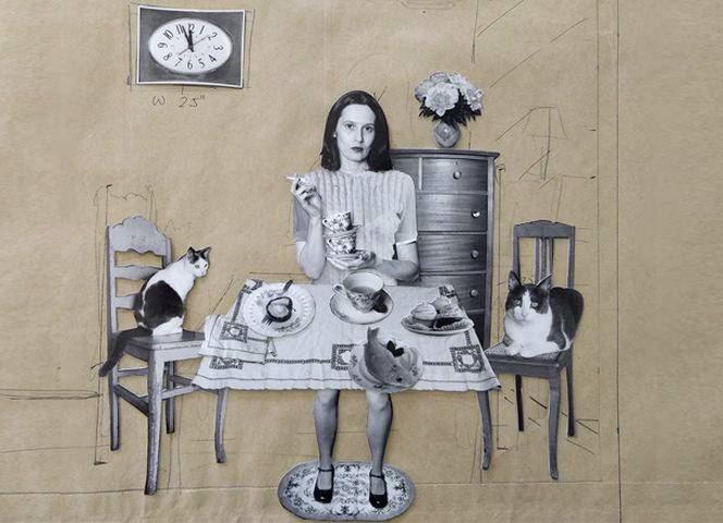 """Fotocollage aus der Serie """"Puppenhaus"""" von Cornelia Hediger."""