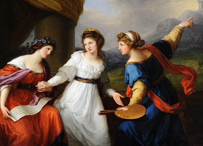 """Angelika Kauffmann: """"Selbstbildnis am Scheideweg zwischen Musik und Malerei"""" (Ausschnitt), 1794. - National Trust Images"""