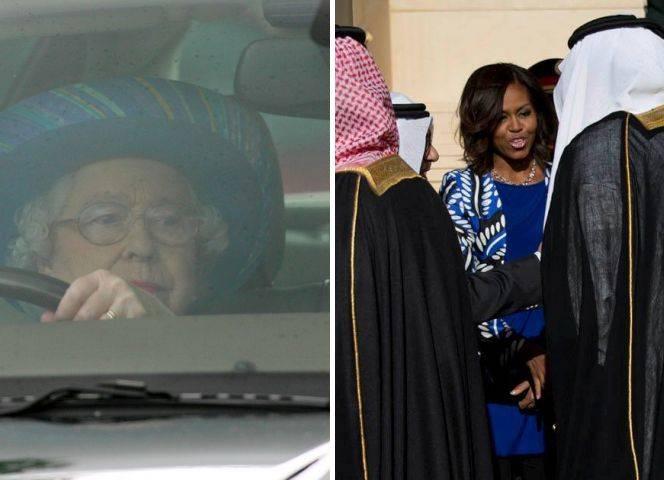 Queen Elizabeth chauffierte persönlich König Abdullah. Michelle Obama ohne Schleier in Saudi-Arabien.