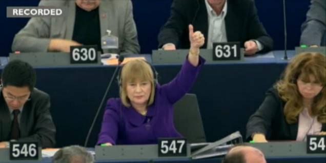 Mary Honeyball bei der Abstimmung ihrer Resolution im EU-Parlament. © BBC/Democracy Live