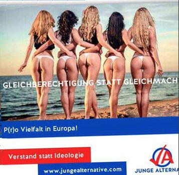 """Eine Seite aus dem Playboy? Nein! Ein Wahlplakat der Jugendorganisation der """"Alternative für Deutschland"""" (AfD). Slogan: """"Gleichberechtigung statt Gleichmacherei - P(r)o Vielfalt in Europa!"""""""